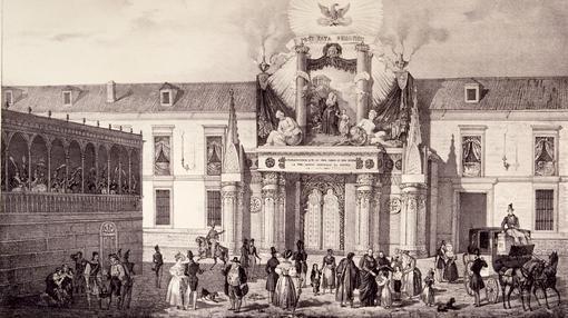Arquitectura efímera en la coronación de Isabel II que la ponía en relación con la Reina Católica