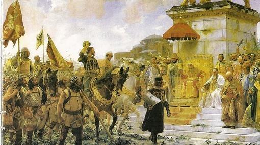 Roger de Flor es recibido por el emperador bizantino. Obra de José Moreno Carbonero