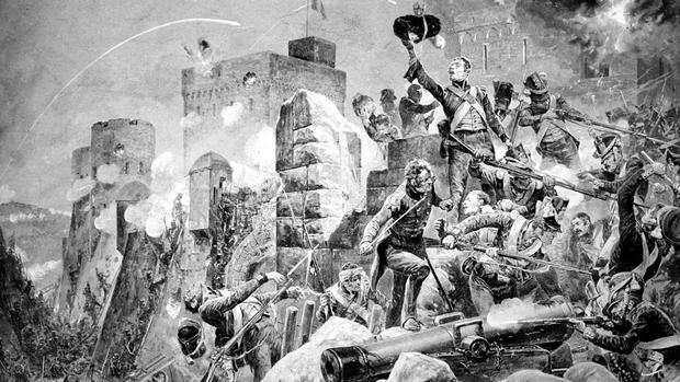 El 88 regimiento, «The Devil's Own», en el sitio de Badajoz, por Richard Caton Woodville Jr.