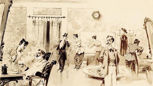Museo ABC. «Blanco y Negro. El año cero de una revista ilustrada». Julio Gros, Blas peluquero, 1891