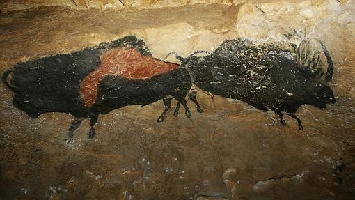 Reproducción de los bisontes de la cueva de Lascaux en el Parque de la Prehistoria de Teverga