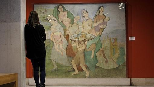 Frescos del artista Luis Quintanilla, «Ama la paz y odia la guerra», en el Paraninfo de la Universidad de Cantabria