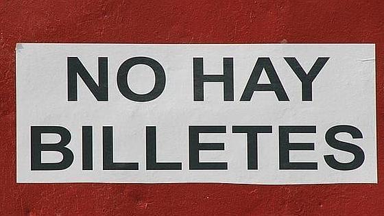Cartel de No hay billetes