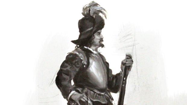 Boceto de un arcabucero, por Augusto Ferrer-Dalmau