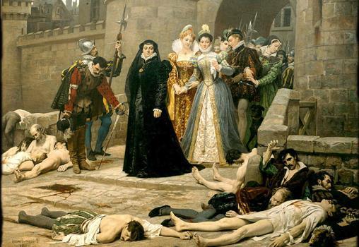 Catalina de Medicis contempla la matanza en París