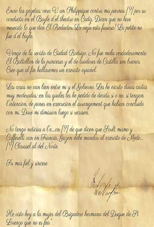 Recreación de la carta de Wellington a Álava