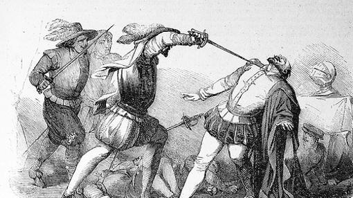 Asesinato de Francisco Pizarro a manos de los almagristas, según un grabado del siglo XIX.