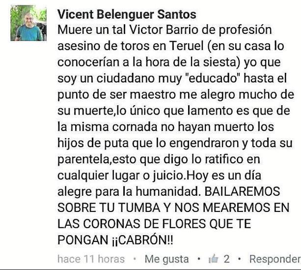 La Policía abre una investigación sobre los comentarios  contra Víctor Barrio