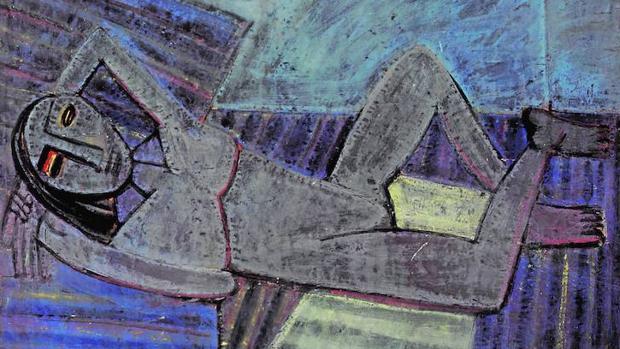 «El descanso de la modelo», (1941), témpera sobre papel de Wilfredo Lam
