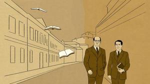 El objetivo del paseo de Gaos (izquierda) y Zubiri era ir caminando hasta la Residencia de Estudiantes para asistir a una conferencia de Ortega y Gasset