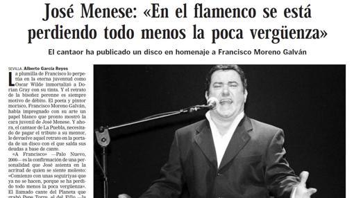 Entrevista de Menese por su disco dedicado a Francisco Moreno Galván
