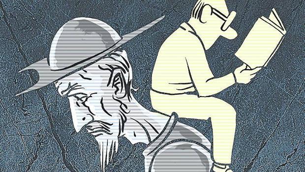 Ilustración de Nieto donde aparecen el Quijote y un lector