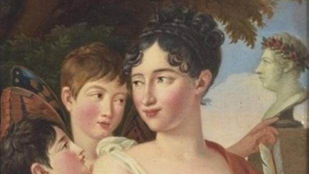 Cuadro «Josefá Tudó con sus hijos Manuel y Luis Godoy en jardín» de José de Madrazo