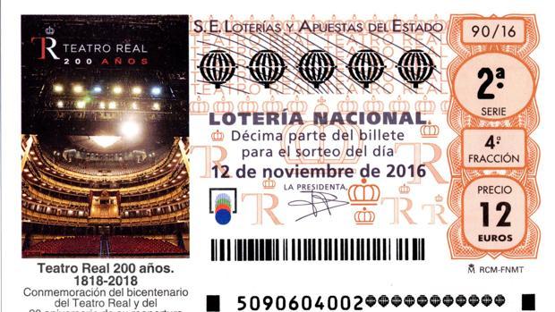 Décimo de lotería con la imagen del Teatro Real