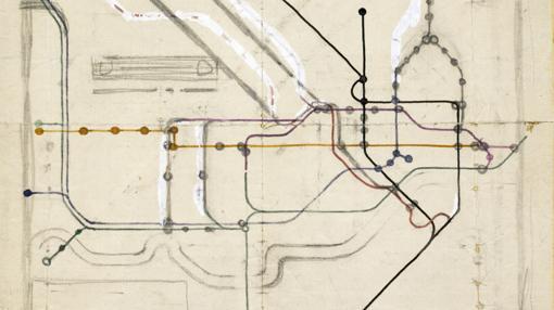 Esbozo del plano del metro de Londres realizado por Harry Beck