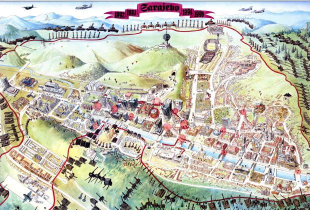Mapa de la ciudad de Sarajevo en 1996