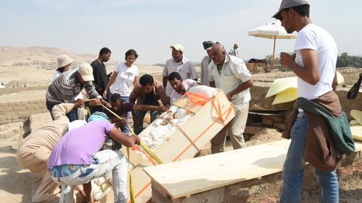 Momento de la extracción de la momia envuelta en el cartonaje
