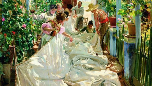 «Cosiendo la vela» (1896), de Sorolla