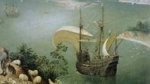 Fragmento del cuadro de Brueghel «El vuelo de Ícaro»