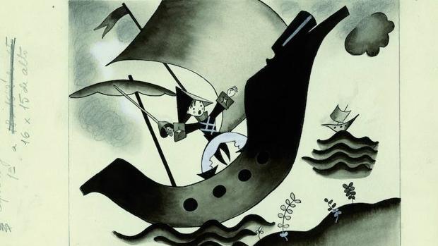 Ilustración para «Capitán general de mar y tierra», de Aurelia Ramos, publicada en «Gente Menuda» en 1932