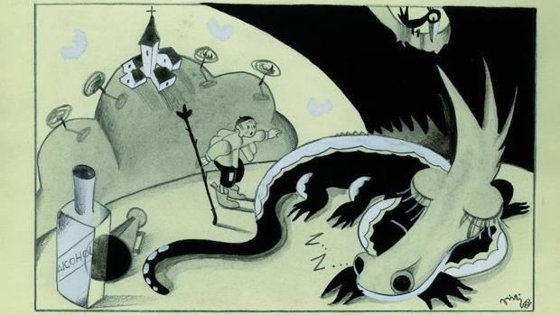 Ilustración para «El dragón de Villacabezotas», de Graciella, publicada en «Gente Menuda» en 1932