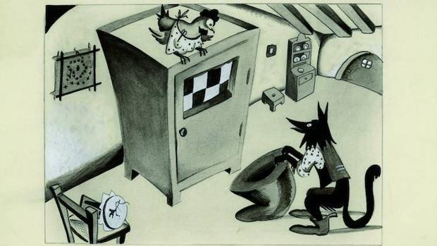 Ilustración para «La gallinita parda. Cuento irlandés», publicada en «Gente Menuda» en 1932