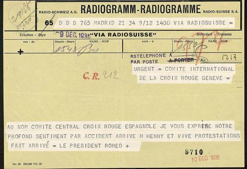 Telegrama de Aurelio Romeo Lozano, presidente de Cruz Roja de la zona republicana, que califica de «accidente» lo sucedido