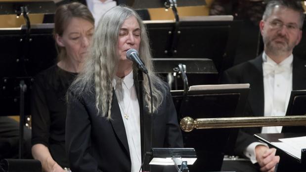 Patti Smith, durante su intervención en la ceremonia de entrega de los Nobel