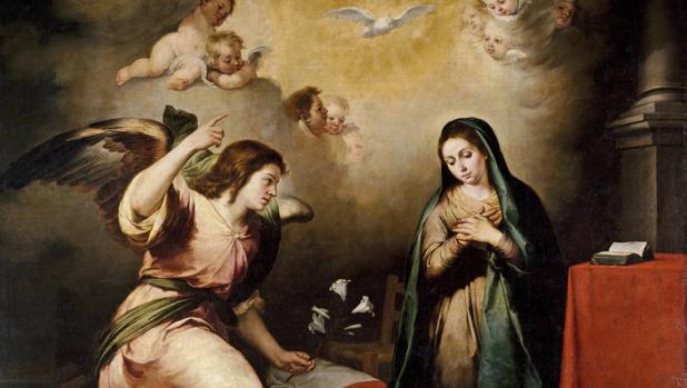 El arcángel Gabriel en «La Anunciación», de Murillo (hacia 1650)