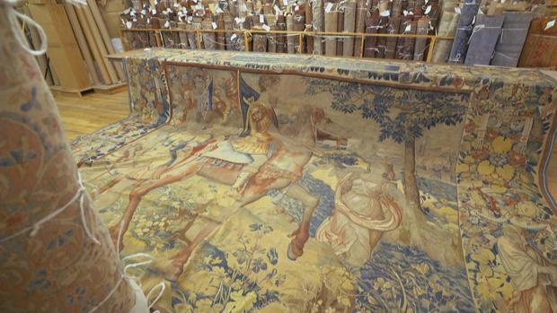 El tapiz, en la tienda de alfombras de Nueva York donde está a la venta