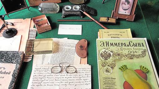 Recreación del escritor de Anton Chéjov, en su casa de Mélijovo