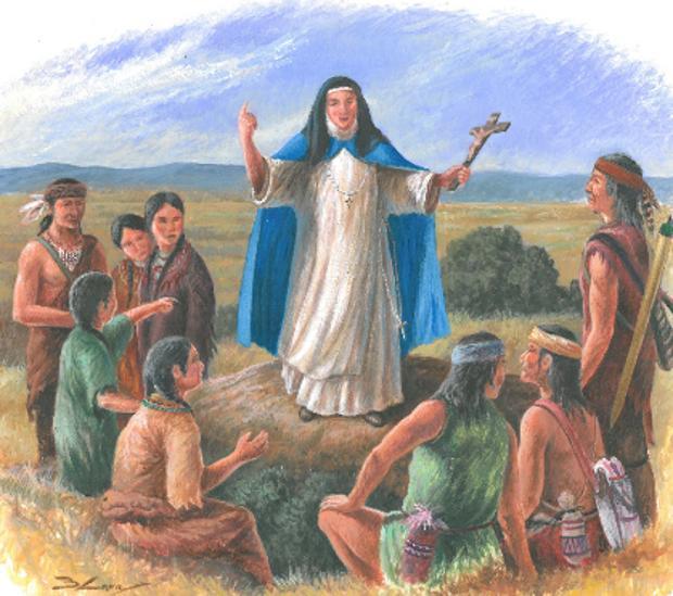 La Dama Azul, evangelizando a los indios