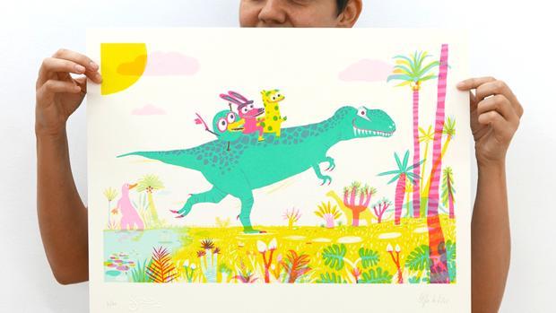 «De viaje en Tyrannosauros». Obra gráfica seriada «Leotolda» (2016). 50x40cm.