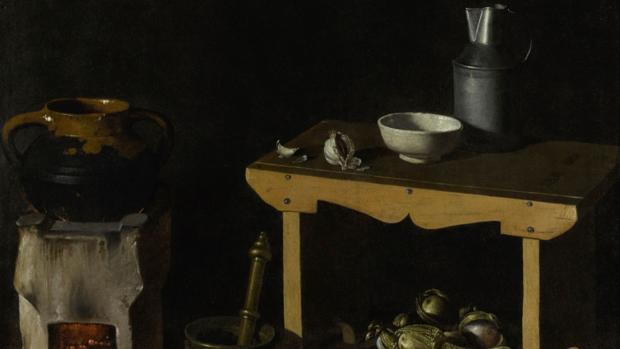 Detalle del «Bodegón de cocina» atribuido a Velázquez