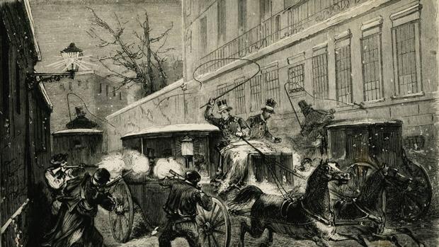«Atentado contra la vida del general Juan Prim, en la calle del Turco, la noche del 27 de diciembre 1870», dibujo publicado por «La ilustración española y americana»