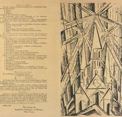 Manifiesto de la Bauhaus de Weimar, ilustrado con «La catedral de la luz», de Feininger (1919)