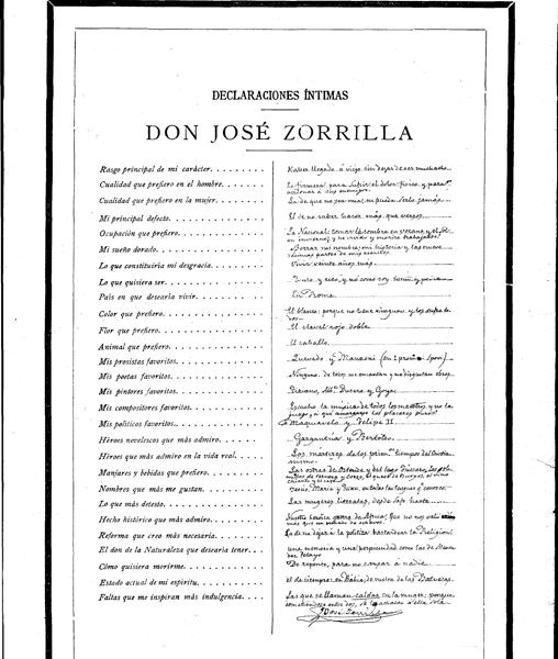 Página que se publicaba en Blanco y Negro con las «Declaraciones íntimas» de José Zorrilla
