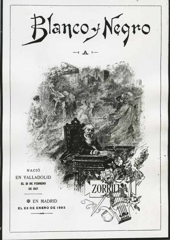 Página 3 de «Blanco y Negro» dedicada a José Zorrilla con motivo de su fallecimiento, el 23 de enero de 1893