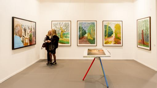 Obras de David Hockney, en el estand de Lelong en ARCO