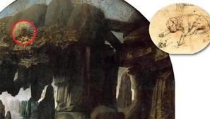 Detalle del perro en el cuadro de Da Vinci