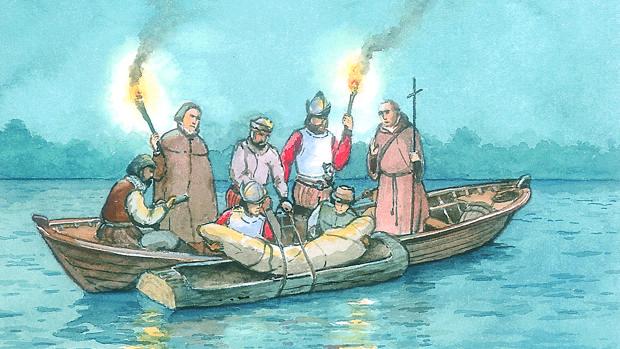 Sepelio de Hernando de Soto, en el Misisipi