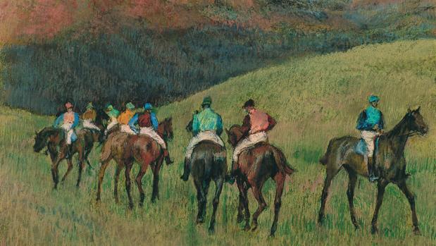«Caballos de carreras en un paisaje» (1894), de Degas
