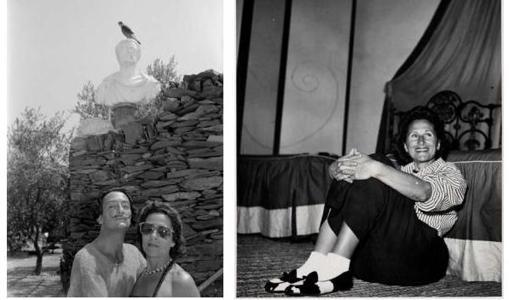 Dos de las fotografías que se pueden ver en la exposición, con Dalí y Gala en 1951 y Gala en 1953