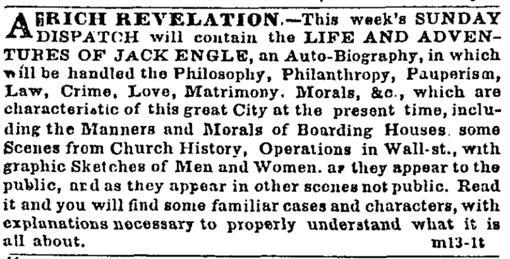 El anuncio de la novela, publicado en el «New York Daily Times»