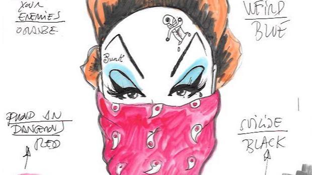 Detalle de uno de los dibujos de Roberta Marrero