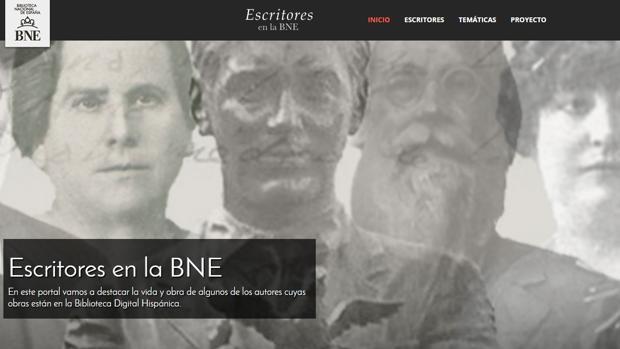 Pantallazo de la página principal de «Escritores en la BNE», el nuevo portal puesto en marcha por la BNE