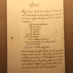 Escrito de 1776 del conde de Aranda en el que detalla la ayuda a los colonos