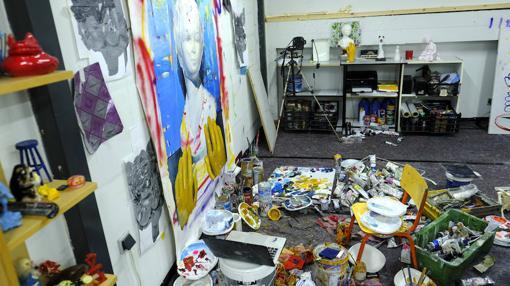 Detalle del espacio desde el que Ana Barriga desarrolla su labor en el estudio
