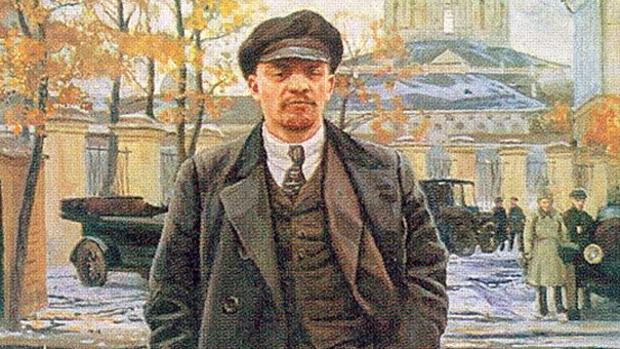 Pintura de Lenin frente al Instituto Smolny por Isaak Brodsky