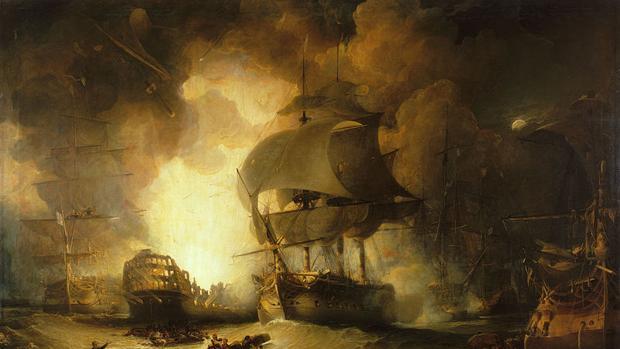 La destrucción del L'Orient en la batalla del Nilo, por George Arnald (1827)
